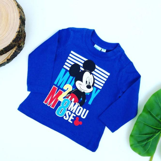 Maglietta Topolino bambino blu a maniche lunghe