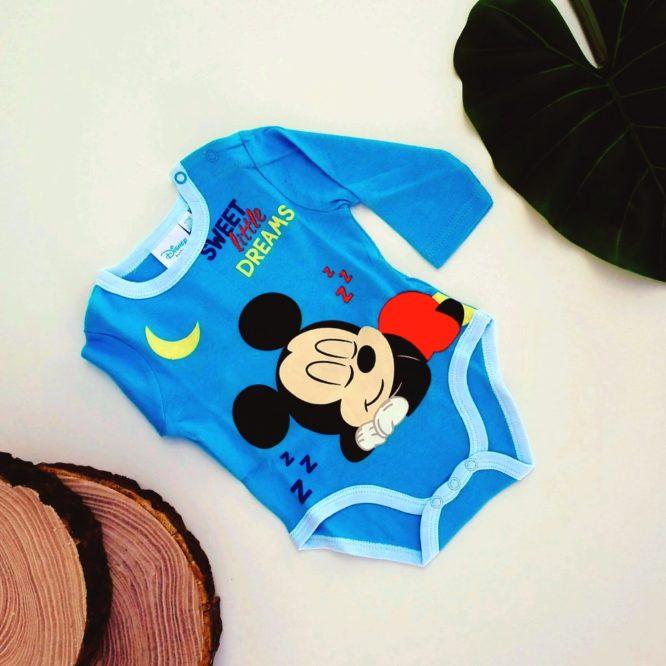 Body Topolino bambino blu a maniche lunghe