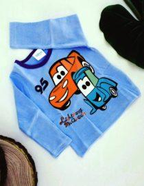 maglietta cars bambino azzurra a maniche lunghe
