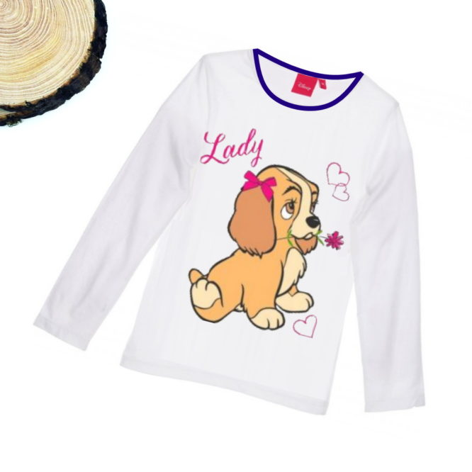 Maglietta Lilli e il Vagabondo bambina bianca a maniche lunghe