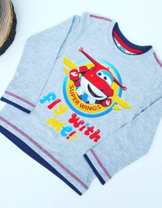 Maglietta Super Wings bambino grigia