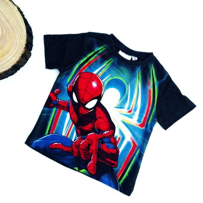maglietta spiderman bambino grigio antracite a maniche corte