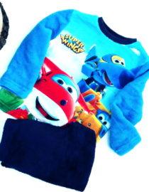 pigiama super wings bambino felpato blu